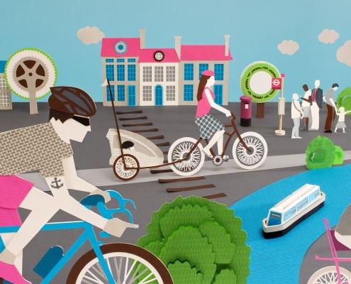 Papercut illustration about cycling.