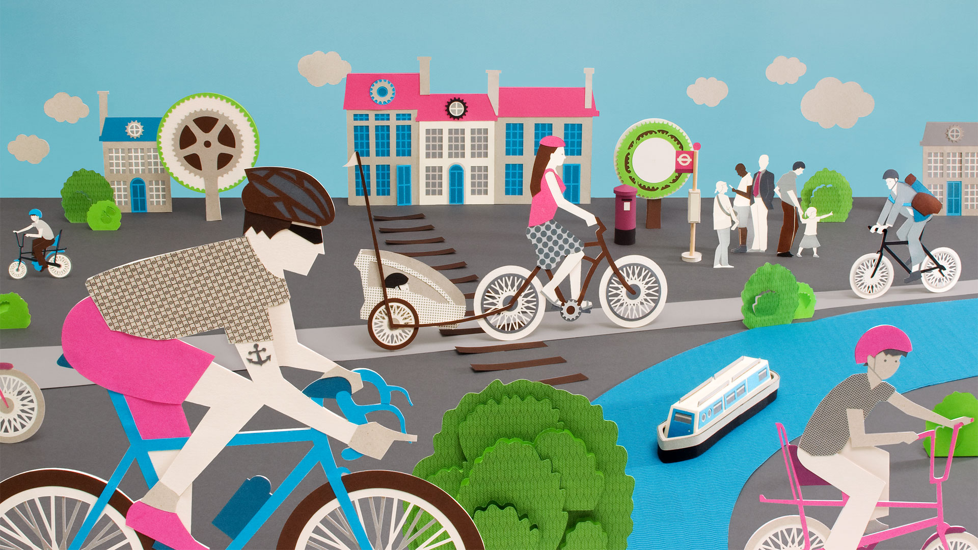 Papercut illustration about cycling.