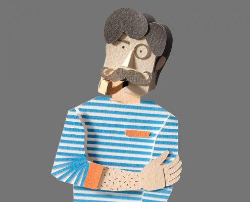Paper art man with pipe.