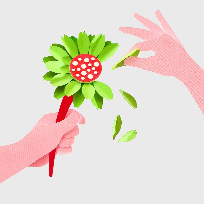 Hands holding flower.