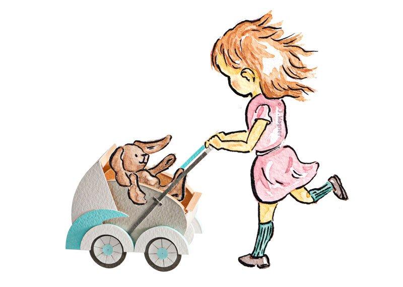 Girl pushing pram with bunny.