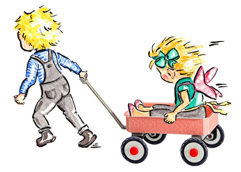 Boy pulling wagon with sister.
