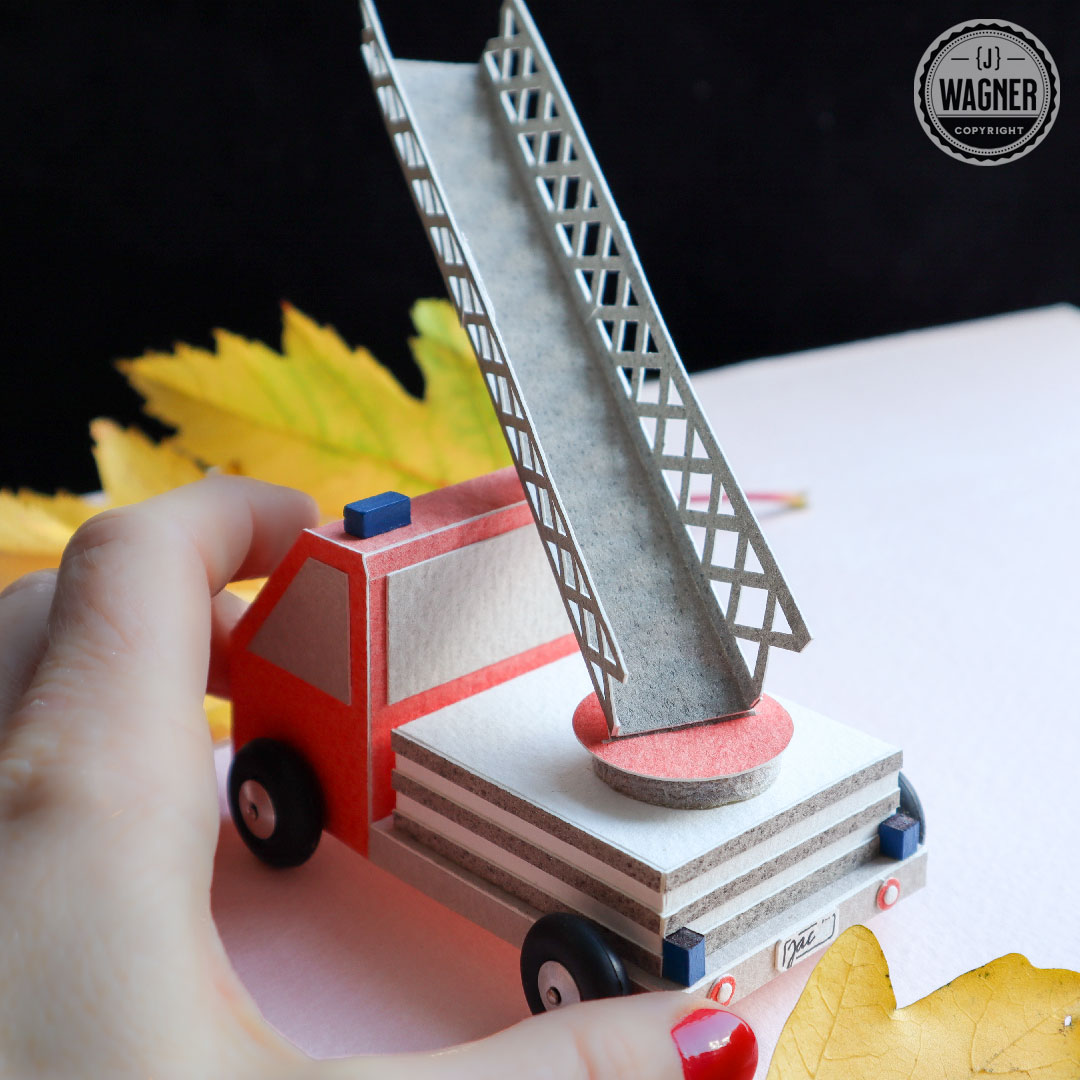 Toy fire engine made from paper.