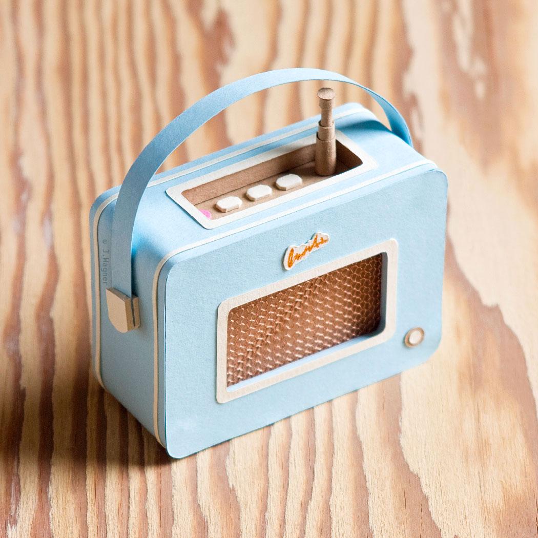 Vintage Roberts radio paper sculpture.